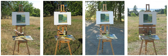 Four example of lighting options for plein air painting
