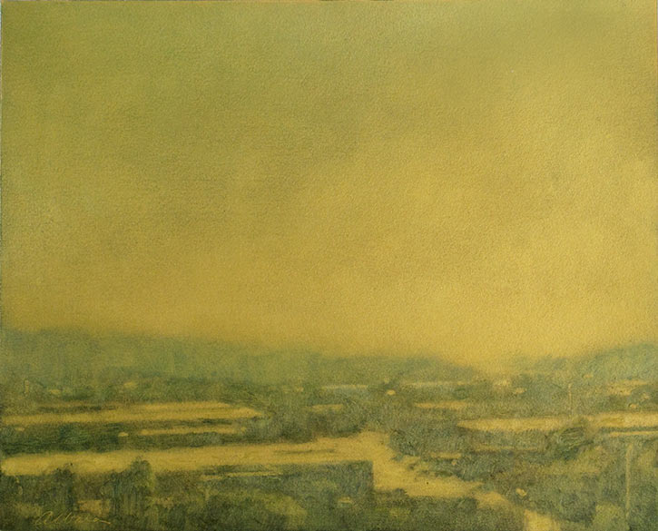 Landscape painting on gold gesso ground by Mitchell Albala