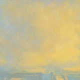 Urban landscape painting with orange clouds by Mitchell Albala