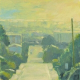 Plein air painting of street from high view, blue and yellow, by Mitchell Albala