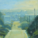 Plein air painting of street with high vantage point, in blue and gold, by Mitchell Albala