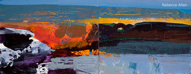 Simplification, expressive brushwork, flattening the space, and saturated color can move a painting toward abstraction