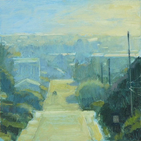 Mitchell Albala, The Way Home, Study in Azure, oil on paper, 7 x 7. Available.
