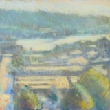 Colorful pastel landscape painting of Ballard streets and rooftops by Mitchell Albala