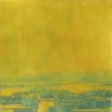 Urban landscape painting with streets in sunlight, in gold paint, by Mitchell Albala