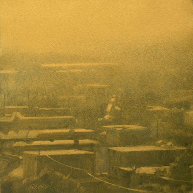 Urban landscape painting with patterned rooftops, in gold paint, by Mitchell Albala