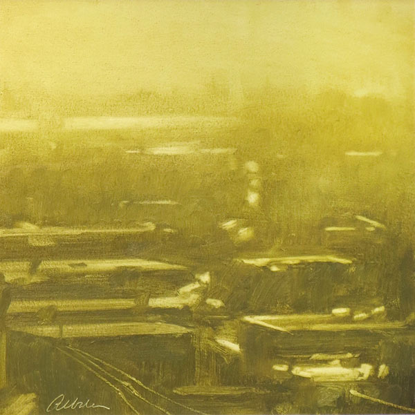 Abstract landscape painting with streets and rooftops, in gold paint, by Mitchell Albala