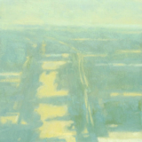 Abstract landscape painting of single street from height by Mitchell Albala