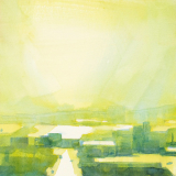 Watercolor urban landscape painting with brilliant yellow light by Mitchell Albala