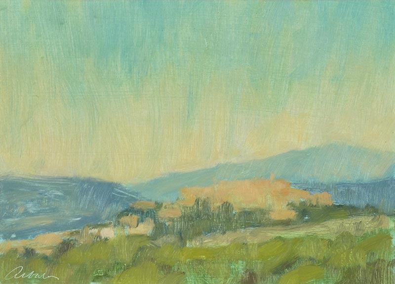 landscape painting of Montegabbione Italy by Mitchell Albala
