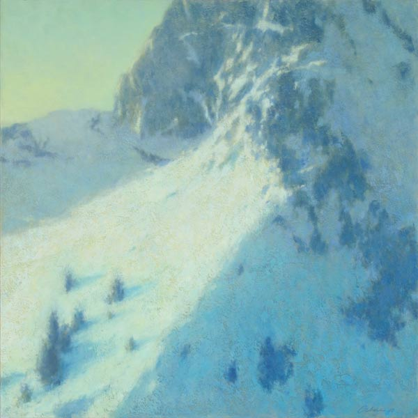 Landscape painting of Pinnacle Peak with light struck hillside by Mitchell Albala