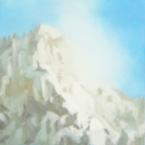 Plein air painting of snow covered mountain in North Cascades by Mitchell Albala