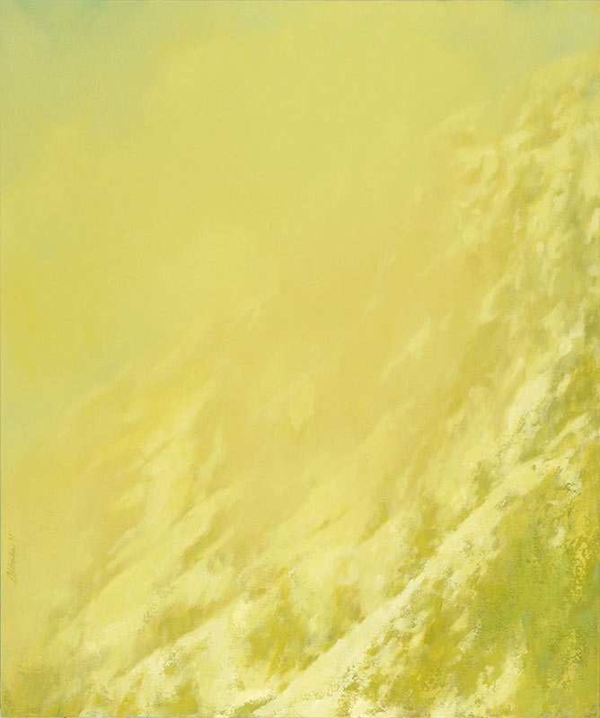 Abstract landscape painting of snow capped hillside by Mitchell Albala