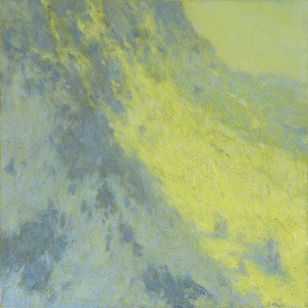Impressionist notan landscape painting of sunlight on mountainside by Mitchell Albala