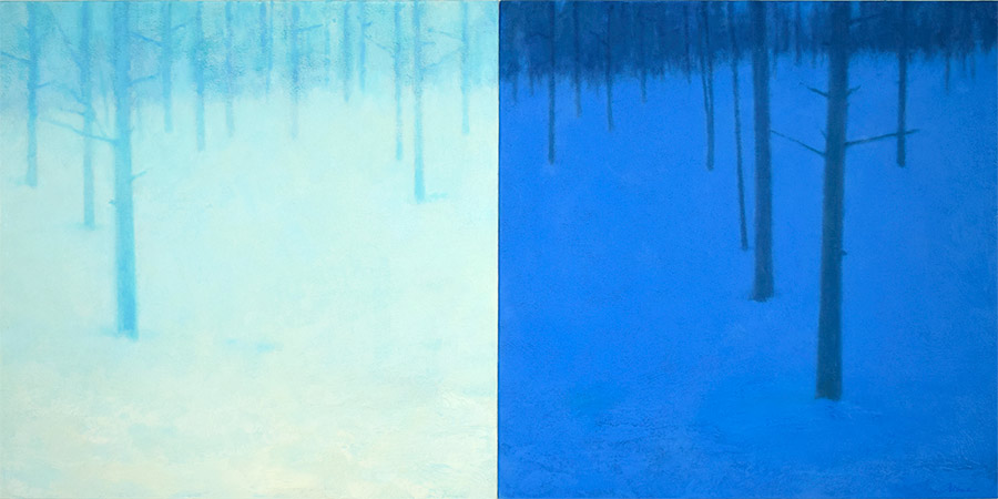 Landscape painting diptych of forest, night and day colors, by Mitchell Albala