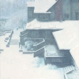 Abstract notan landscape painting of house in winter snow storm by Mitchell Albala