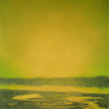 Landscape painting in gold of Grasser's Lagoon Penn Cove by Mitchell Albala