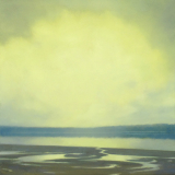 Moody and abstract landscape painting of Grasser's Lagoon Penn Cove by Mitchell Albala