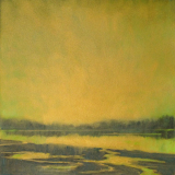 Small landscape painting in gold, Grasser's Lagoon Penn Cove by Mitchell Albala
