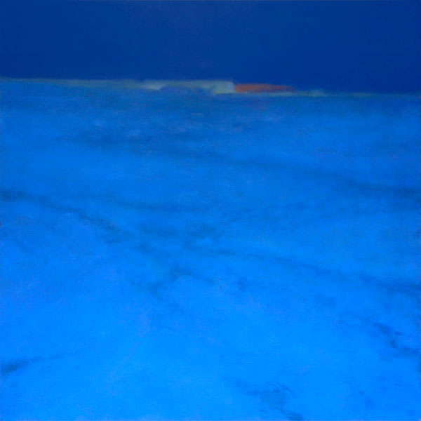 Deep blue abstract landscape painting snow field at night by Mitchell Albala