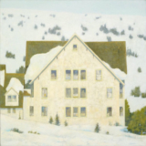 Winter landscape painting of chateau at Paradise, Mt. Rainier by Mitchell Albala