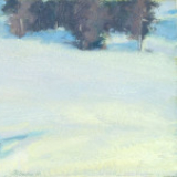 Abstract landscape painting of nearly empty snow field by Mitchell Albala