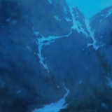 Abstract landscape painting of snow capped mountainside at dusk by Mitchell Albala
