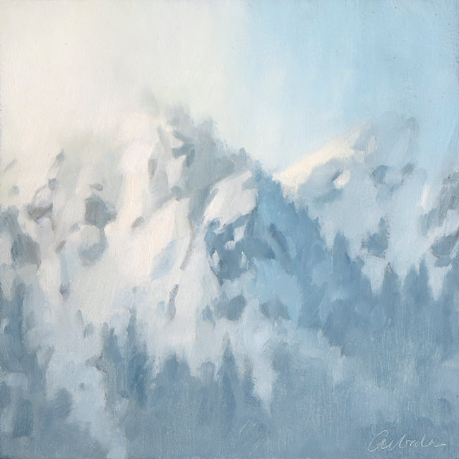 Landscape painting of Alpental mountains by Mitchell Albala