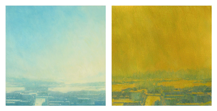 Traditional landscape painting color compared to painting on gold gesso ground.