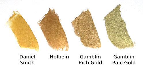 Brands of gold oil paint - color comparison