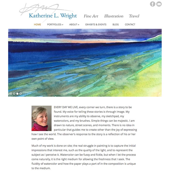 Home page design by Mitchell Albala for Katherine Wright's website