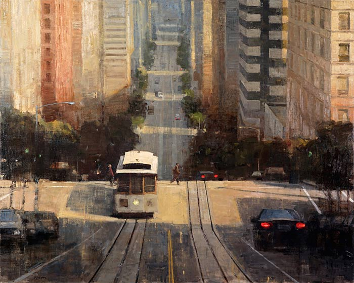 Urban landscape painting by Terry Miura