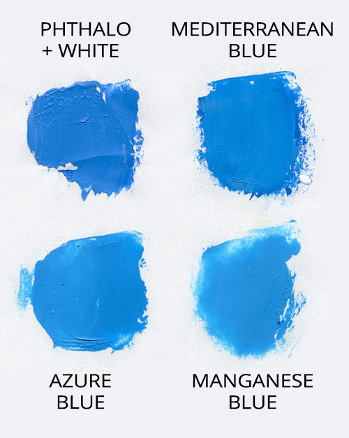 Pigments compared - phthalo, mediterranean, and azure blues