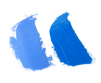 Phthalo blue and ultramarine blue swatches